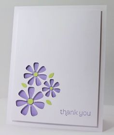 handmade card by Manitoba Stamper ... grouping of three negative space die cut daisies ... clean and simple  ... sweet card ,,,
