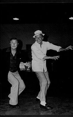 Frank Sinatra and Gene Kelly dancing at a MGM rehearsal, 1973.
