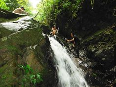 Descending the big waterfall. This might look tricky, but it was actually quite easy. There are nice flat spots to put your feet right when you need them. Kayak Adventures, Phuket Thailand, Travel Tours, Canoe, Paddle, Trekking, Kayaking, Adventure Travel, Waterfall
