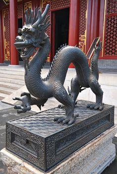 A beautiful dragon sculpture standing in Beijing, China -https://www.facebook.com/mytravelswithmymumblog http://www.mytravelswithmymum.com/destinations-beijing-forbidden-city/
