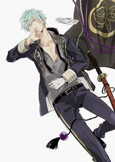 一期一振 Boys Anime, Hot Anime Guys, Manga Boy, Manga Anime, Anime Art, Hot Guys, Touken Ranbu, Anime Blue Hair, Mikuo