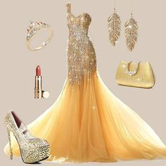 I don't usually into yellow or gold but this is gorgeous! Must pin it. Gold Prom Dresses, Girls Maxi Dresses, Party Wear Dresses, Evening Dresses, Formal Dresses, Beautiful Gowns, Yellow Dress, Designer Dresses, Fashion Outfits