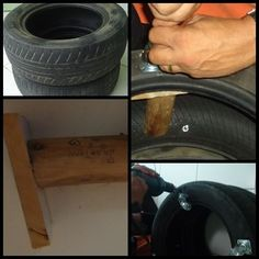 Pipoca e Fuxico: Puff e mesa confeccionado com pneu e corda sisal