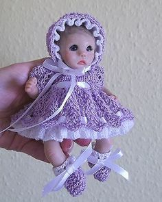 Lavender & white set of  clothes for 6 inch OOAK sculpt  baby doll