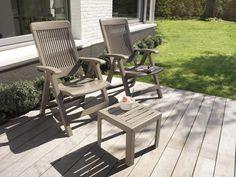 Salon de jardin table acier Stone/Noir 4 chaises Bleu ANYTIME ...