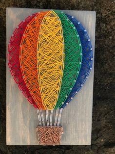 MADE TO ORDER Hot Air Balloon String Art Rainbow String Art | Etsy String Wall Art, Nail String Art, Diy Wall Art, Nursery Wall Art, String Art Balloons, String Art Templates, String Art Patterns, Doily Patterns, Dress Patterns