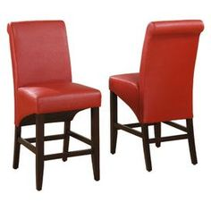 """Set of two upholstered counter chairs with sleigh-back silhouettes.    Product: Set of 2 stools   Construction Material: Wood and pebble grain synthetic leather   Color: Ruby     Features:   Constructed with no-sag seat cushions for extra comfort   Chair legs constructed from solid poplar   French seam detail  Four stretchers for maximum rigidity    Dimensions: 43"""" H x 25"""" W each    Note: Easy assembly required"""