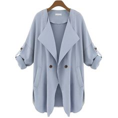 Light Blue Plain Collar Roll-up Sleeve Batwing Outerwear (130 NOK) ❤ liked on Polyvore