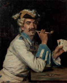 Le joueur de cartes by Federico ANDREOTTI (Italian 1847-1930)