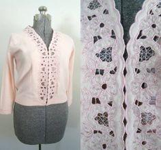 Vintage Pink Cutwork Cardigan 1950s 1960s by rileybellavintage, $38.00