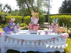 Gorgeous dessert table at an Alice in Wonderland birthday party! See more party ideas at CatchMyParty.com!