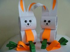 For this easy and cute rabbit craft.make with circle cardboard tubes,white sheet,orange and green color papers,some googly eyes and noise Animal Activities For Kids, Animal Crafts For Kids, Easter Activities, Crafts For Kids To Make, Easter Crafts For Kids, Easy Crafts, Art For Kids, Diy And Crafts, Arts And Crafts