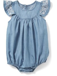 Chambray Bubble One-Piece in Light Tone Chambray. (Old Navy: $18.94) *baby*  SPRING '17