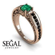 Unique Engagement Ring Yellow Gold Vintage Art Deco Victorian Ring Edwardian Ring Green Emerald With Black Diamond - Gabriella Lotus Engagement Ring, Black Diamond Engagement, Elegant Engagement Rings, Designer Engagement Rings, Wedding Rings, Baguette, Edwardian Ring, Victorian Ring, At Least