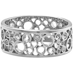 London Road 9ct White Gold Diamond Bubble Ring ($610) ❤ liked on Polyvore featuring jewelry, rings, diamond accent ring, diamond bubble ring, filigree jewelry, two-finger ring and bubble ring