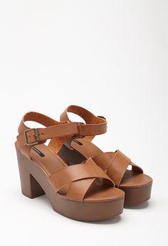 Platform Faux Leather Sandals | Forever 21 - 2000079563