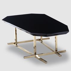 Geometric Black Lacquer and Gold Coffee Table