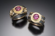Beth Soloman     BLACK & GOLD RINGS WITH PINK TOURMALINE