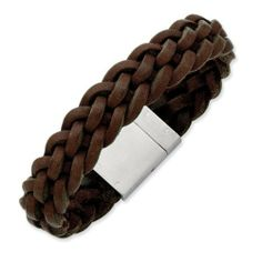 "Stainless Steel Brown Leather Bracelet Length 8.5"" Jewelry Adviser Bracelets. $47.50"