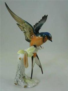 Hutschenreuther Figurine, JHR Germany Swallow, Porcelain Bird
