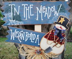 """Snowman Wood Christmas Yard Stick - """"In the Meadow We Will Build a Snowman"""" by Cherables on Etsy https://www.etsy.com/listing/114169654/snowman-wood-christmas-yard-stick-in-the"""