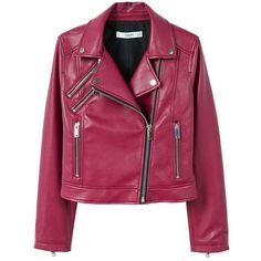 MANGO Appliqué biker jacket (10220 RSD) ❤ liked on Polyvore featuring outerwear, jackets, maroon, mango jackets and purple jacket