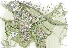 Stoneythorpe Eco-Village, UK by Place-Make Urban Design Concept, Urban Design Diagram, Urban Design Plan, Urban Village, Art Village, City Skylines Game, Education City, New Urbanism, Eco City