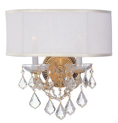 Crystorama 4482-GD-SMW-CL-MWP 2-Lights Brentwood Sconce Draped In Hand Cut Crystal - Polished Gold