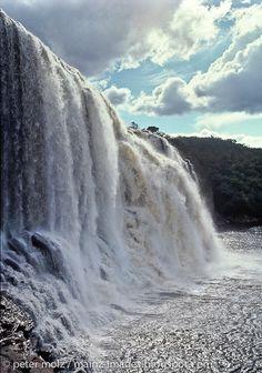 """Salto El Sapo (photo) and Salto El Sapito, Parque Nacional Canaima, Venezuela. """"Muy cerca de la laguna de Canaima, y en una desviación del río Carrao, se encuentra uno de los saltos más bellos de la región: El salto del Sapo""""."""