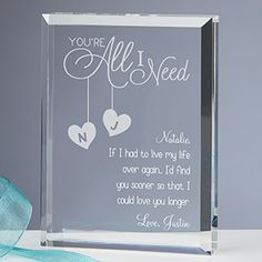 "This is so romantic! You can personalize it with your own message, wedding vows, lyrics from ""your song"" or anything you'd like! What a great Valentine's Day gift idea!"