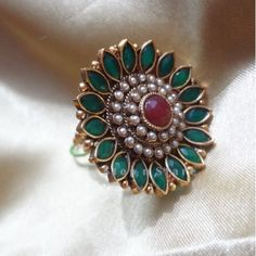 Buy Green Marquise Flower Polki Ring Online   Craftsvilla Indian Jewelry Sets, Indian Wedding Jewelry, Bridal Jewelry, Gold Ring Designs, Gold Jewellery Design, Wedding Jewellery Inspiration, Gold Rings Jewelry, Necklace Designs, Jewelry Collection