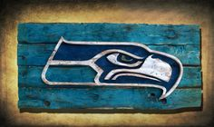 Seattle Seahawks Handmade distressed wood sign, vintage, art, weathered, recycled, Colorado, home decor, Wall art, Man Cave, Blue, superbowl on Etsy, $175.00