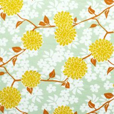 Half Yard Mustard Yellow Mum Floral Cotton Interlock Knit Fabric - A designer overstock score!  A gorgeous mustard yellow mum floral on caramel color branch and leaves overprinted on a light meadow green white floral silhouettes.  Cotton jersey poly blend cotton interlock knit fabric is super soft with a nice stretch, medium weight.  Mums measure  3 1/8