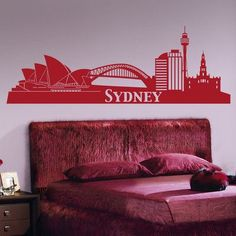 Style and Apply Sydney Skyline Wall Decal Color: Pink