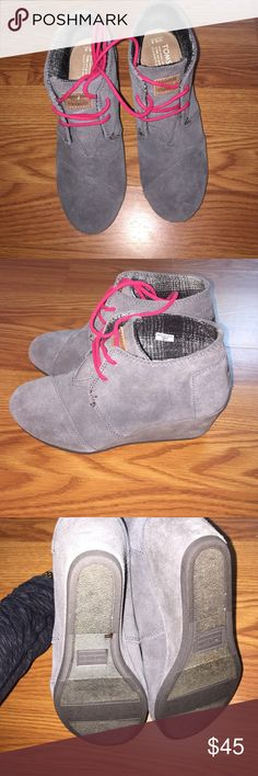 Women's TOMS wedges. Women's gray TOMS wedges. Size 6.5. Worn once in NEW condition. TOMS Shoes Wedges