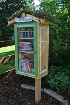 Little Free Library with rooftop garden