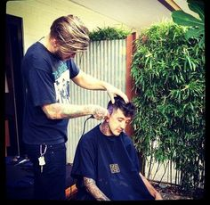 Austin getting his haircut