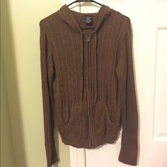 Zip Sweater Hoodie Brown Faded Glory zip sweater with a hood. Jacket is light and cozy with draw strings in the hood. Like New.... Don't be shy, make an offer! Faded Glory Tops Sweatshirts & Hoodies