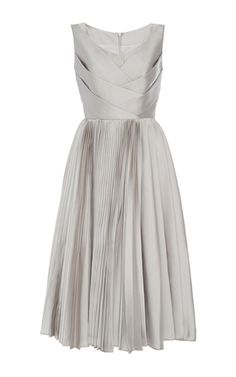 Sleeveless Metallic Pleated Dress by DICE KAYEK for Preorder on Moda Operandi