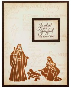 Joseph and Mary DIY Christmas Card | Use stamps to create this gorgeous religious Christmas card.