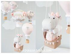 Hot Air Balloon Baby Mobile, Hippo Baby Mobile, Travel Theme, Nursery Decor, Baby Girl Nursery Decoration, i242