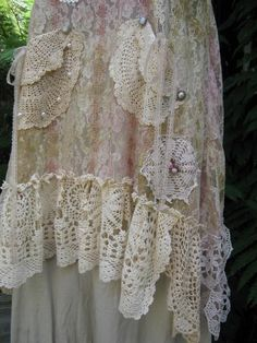 things vintage lsce flowers old | vintage lace and doiley dress, made in NZ - check their Etsy, so many ...