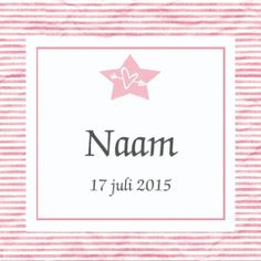 Geboortekaartje strepen met ster in rose
