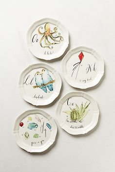 "These are the most adroable things ever. I have ""m"" ""b"" ""r"" ""j"" ""c"" ""e"" ""n"" ""o"" and ""a"" Calligrapher Canape Plate - anthropologie.com"