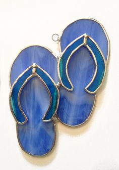 Handmade Stained Glass Flip-Flops / Sandals Suncatcher by QTSG