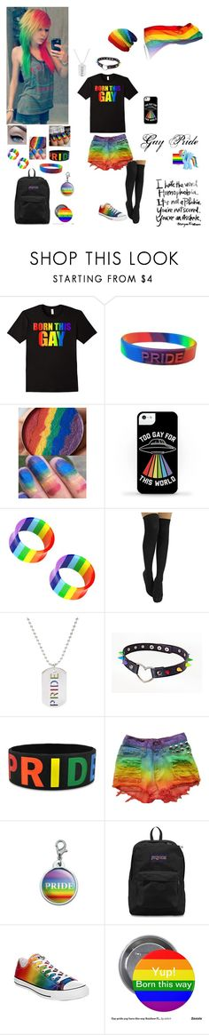 """Gay Pride"" by dreadful-glassheart ❤ liked on Polyvore featuring Rainbow, JanSport and Converse"