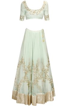 Mint blue embroidered lehenga set available only at Pernia's Pop Up Shop.