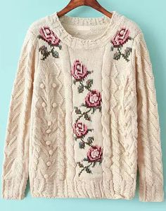 just right for boho-country looks!  Apricot Long Sleeve Embroidered Cable Knit Sweater 33.33