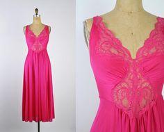 Vintage 60's Olga Nightgown Pink Slip Dress / Full Slip /