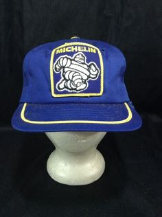 Vintage Michelin Man Hat Foam Filled Blue SnapBack Cap  Michelin   BaseballCap a86993ba90fa